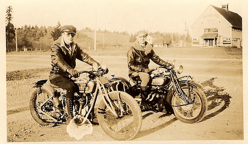 vintage men on motorcycles 1920s 1930s