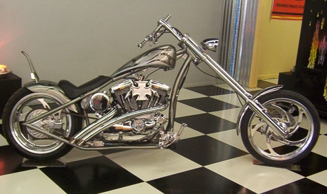 custom silver chopper motorcycle bike new