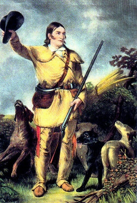 davy crockett portrait painting with dogs