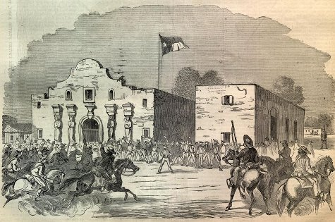 alamo battle texas painting engraving troops charging
