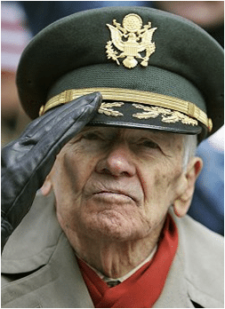 Veteran saluting head shot portrait.