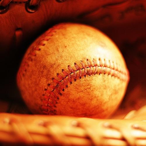 Baseball in the baseball glove.