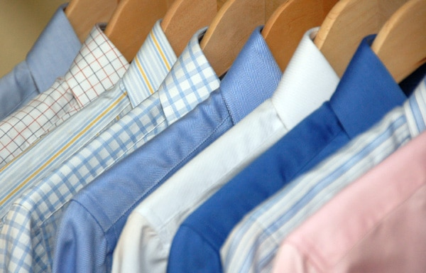 Dress pattern shirts cover in hangers.