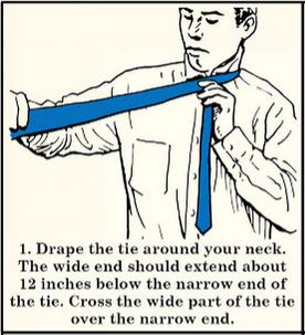 half windsor necktie knot how to start