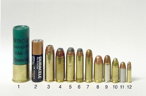 handgun cartridges shotgun shell size comparison