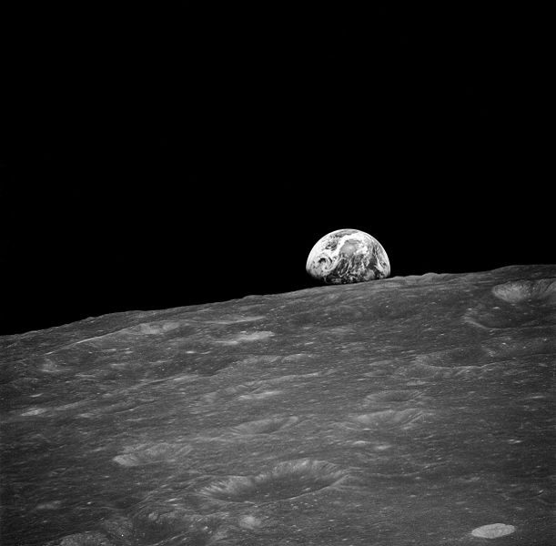 First Earthrise photographed by man from moon.