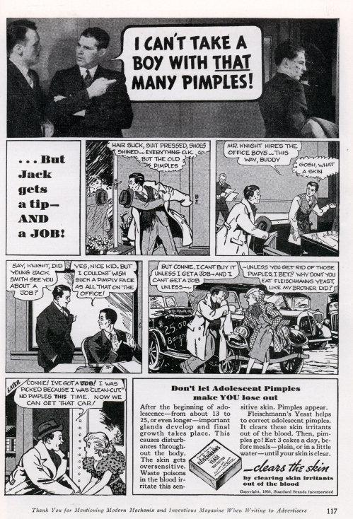 Yeast Acne Cure comic fleischmanns vintage ad advertisement