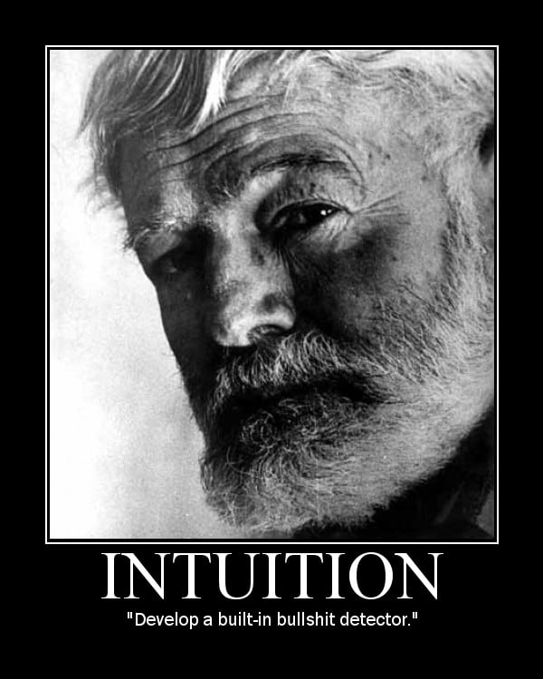 Motivational quote about Intuition by Ernest Hemingway.
