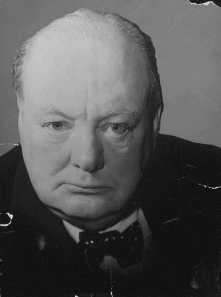 Winston churchill head shot intense face