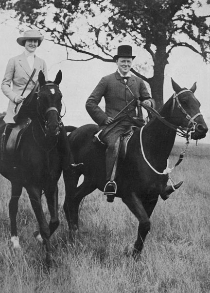 Young winston churchill and clementine on horseback.