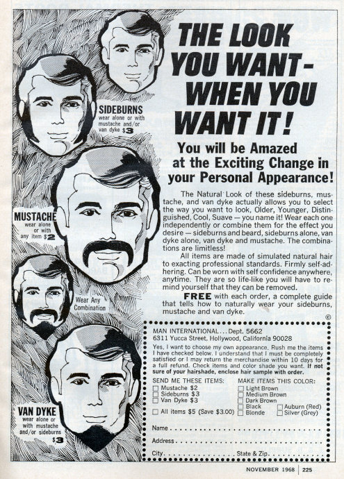 Paste on facial hair vintage advertisement.