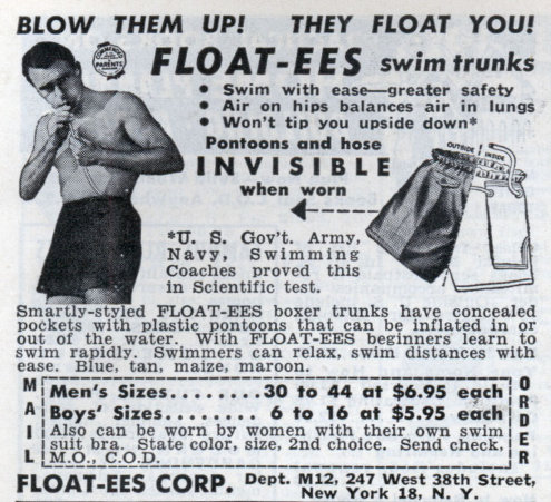 Vintage floatees blow up swim trunks advertisement.