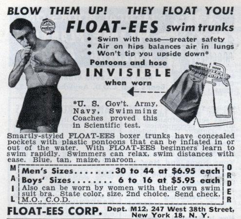 vintage floatees blow up swim trunks ad advertisement