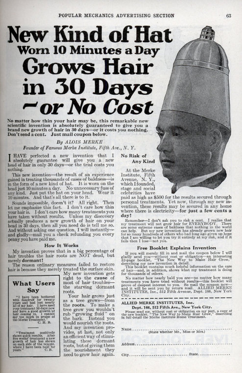 vintage hair loss ad new kind of hat