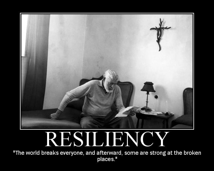 Motivational quote about Resiliency by Ernest Hemingway.