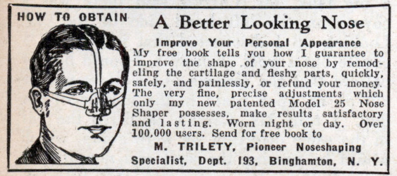 Vintage ad advertisement about nose shaper of men's product.