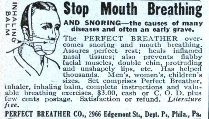 Perfect breather mouth breathing snoring vintage advertisement.