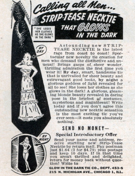 vintage glow in the dark striptease necktie tie