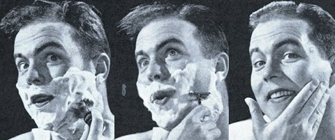 Vintage illustration of clean shaven face after shaving.