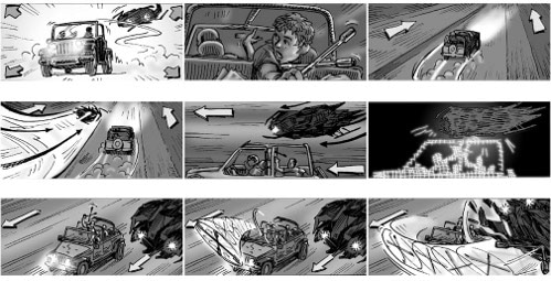 terminator salvation scene storyboard ted slampyak illustrator