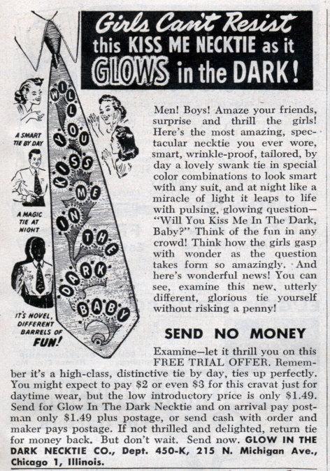 vintage glow in the dark kiss me necktie