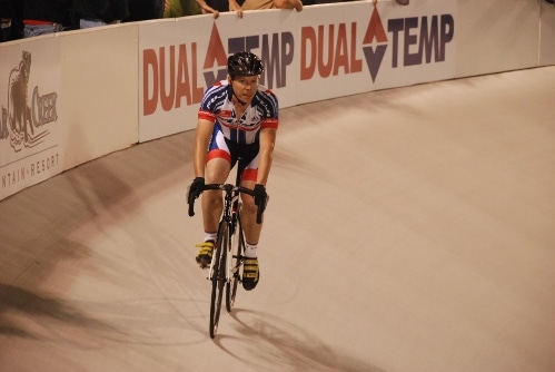 luke elrath bicyclist in velodrome breezer bikes