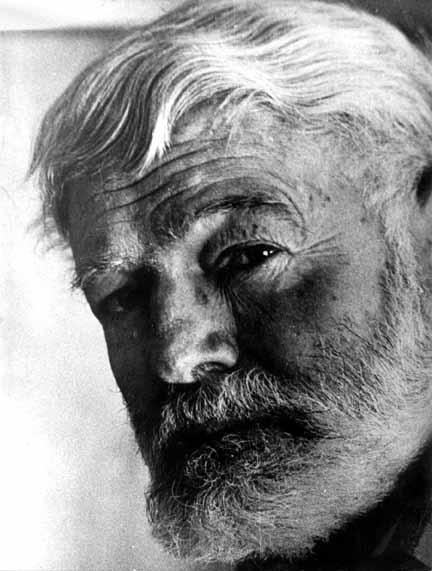 Old Ernest Hemingway's portrait.