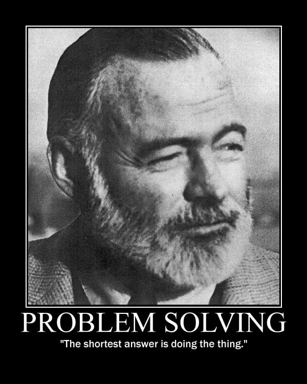 Motivational quote about Problem Solving by Ernest Hemingway.