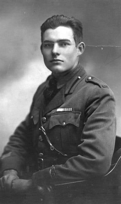 Young Ernest Hemingway's portrait in uniform.