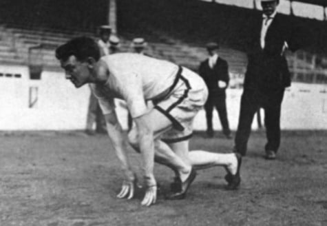 vintage sprinter runner starting position track early 1900s