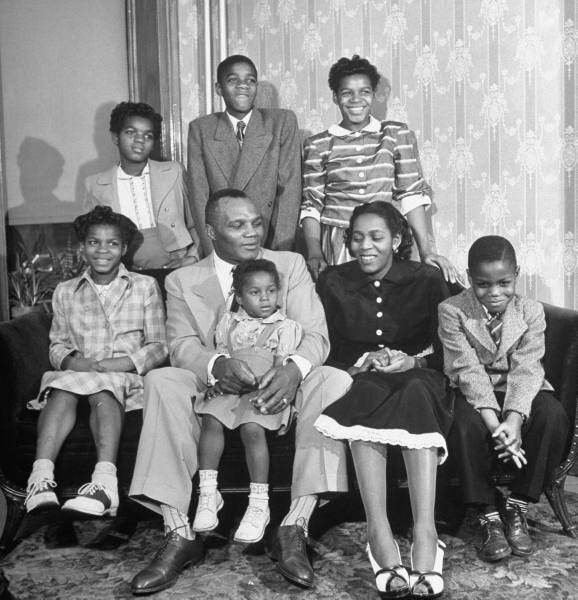 Vintage African American family's portrait.