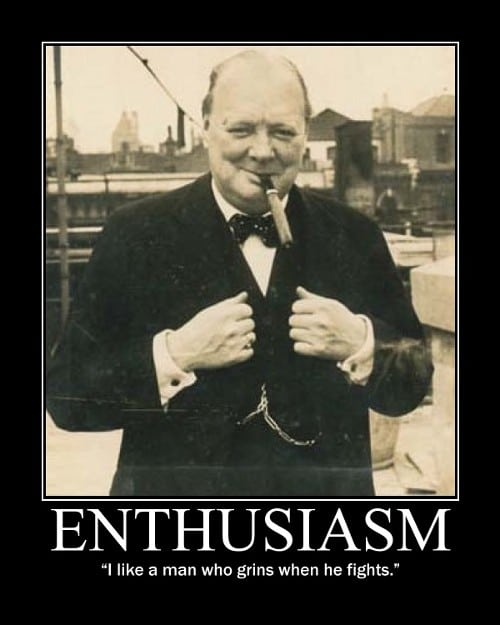 winston churchill grins fights quote motivational poster