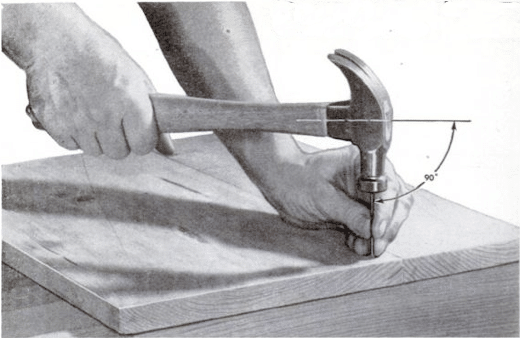 Illustration of how to hammer a nail.