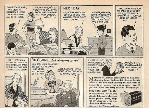 Vintage Lifebuoy soap ad advertisement grandpa cartoon