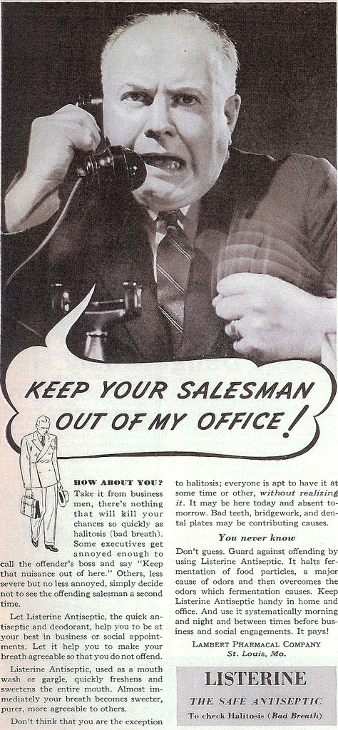 Illustration of vintage man screaming on phone for ad advertisement.