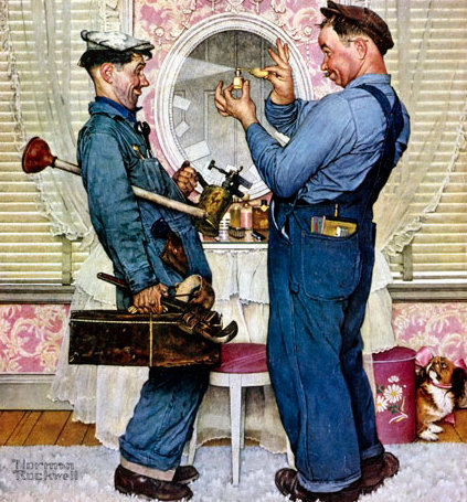 Two plumbers enjoying their work in a room.