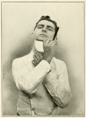 straight razor shave vintage illustration under chin neck
