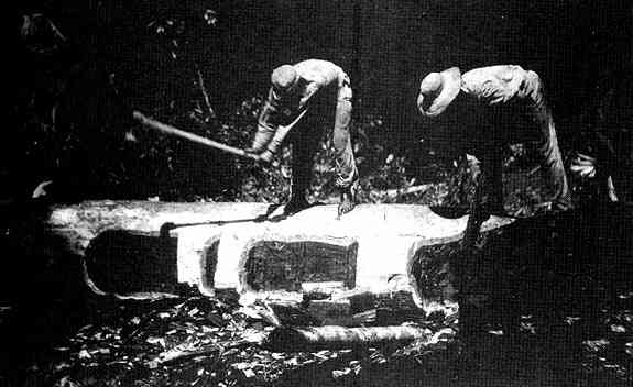 Teddy Roosevelt digging out canoes with a man.