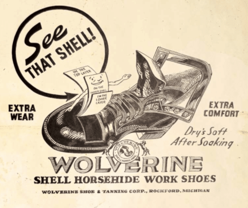 Vintage wolverine boot shoe ad advertisement
