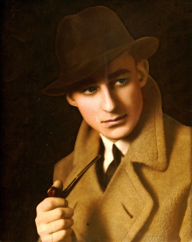 vintage young man smoking pipe overcoat hat illustration