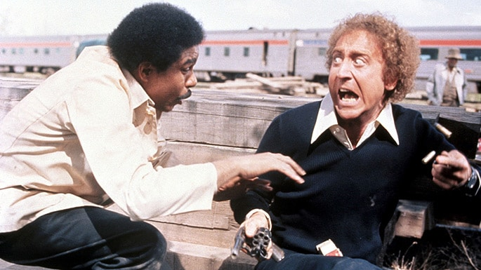 Gene Wilder and Richard Pryor screaming in Silver Streak movie.