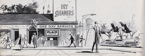 Illustration of vintage dry cleaner's ad advertisement.
