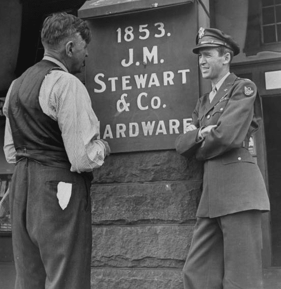 jimmy stewart actor soldier garb with his father