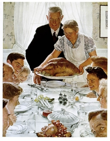 norman rockwell painting thanksgiving table turkey