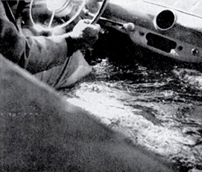 vintage sinking car water filling up interior