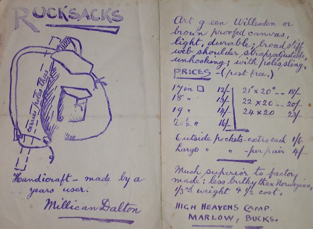 Vintage written material of Millican Dalton with blue ink.