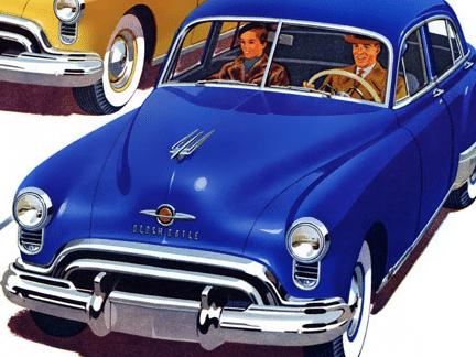 vintage 1950s couple driving blue car illustration