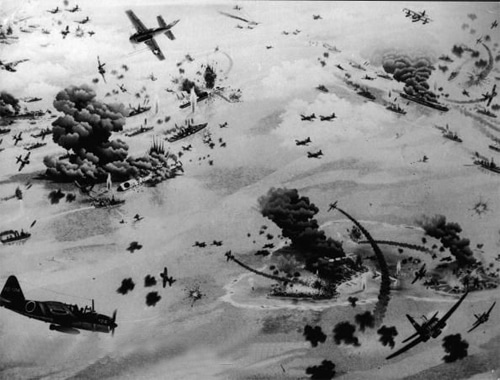 battle of midway aerial shot planes ships