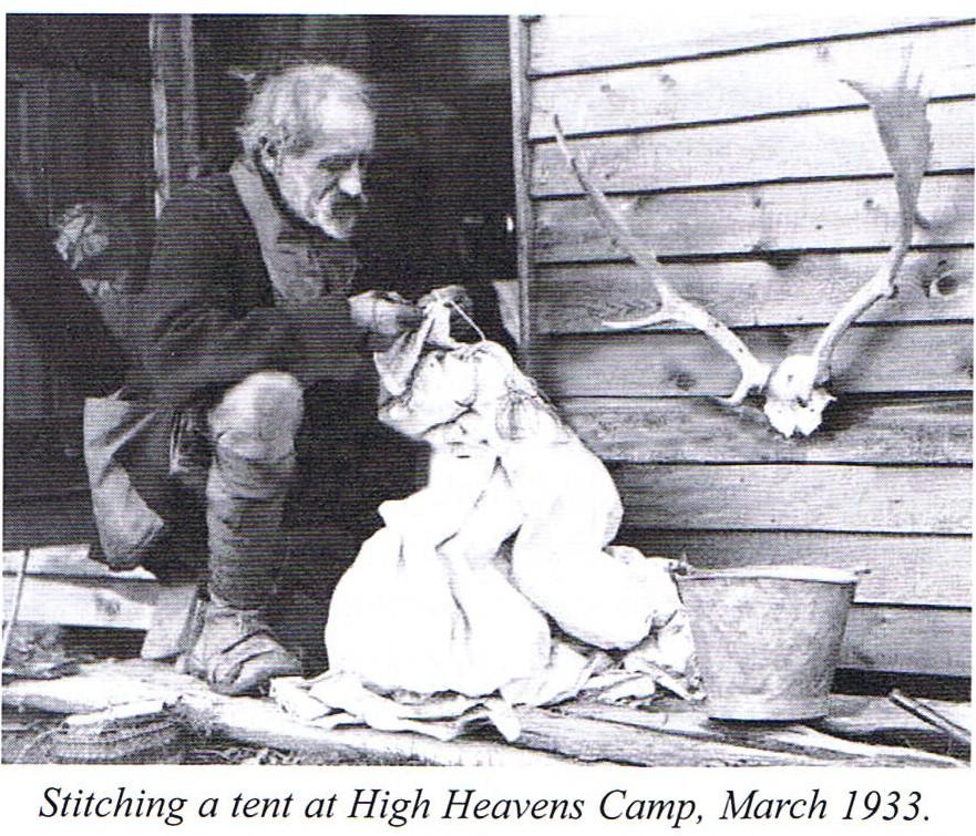 millican dalton stitching a tent cabin 1930s
