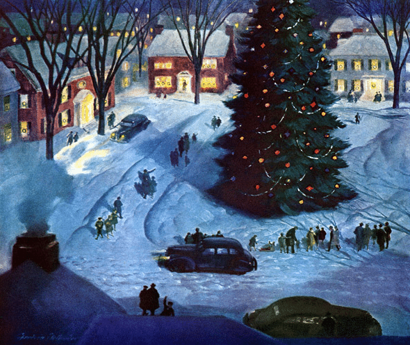 vintage 1950s christmas town square illustration